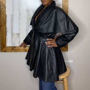 Vintage Phoenix 1990's capped leather coat skirted